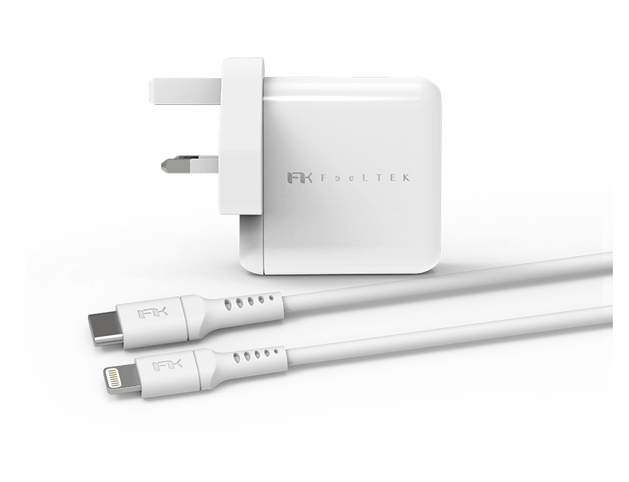 Bộ sạc Lightning PD Pack UK 30W - USB-C to Lightning (White) 1m8